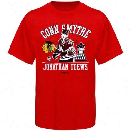 Black Hawks Shrts : Reebok Black Hawks Red 2010 Conn Smythe Trophy Winner Shirts