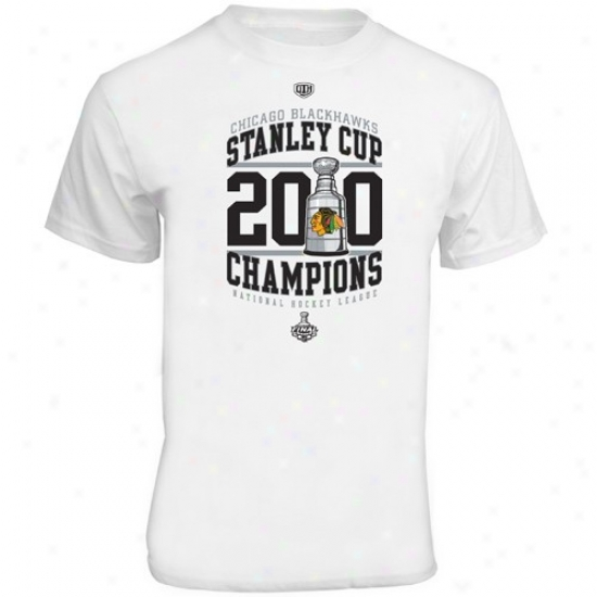 Black Hawks T-shirt : Old Time Hockey Black Hawks White 2010 Nhl Stanley Cup Champions Fleming T-shirt