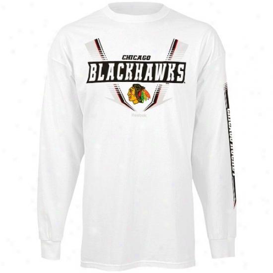 Black Hawks T-shirt : Reebok Black Hawks White Supermoto Long Sleeve T-hsirt