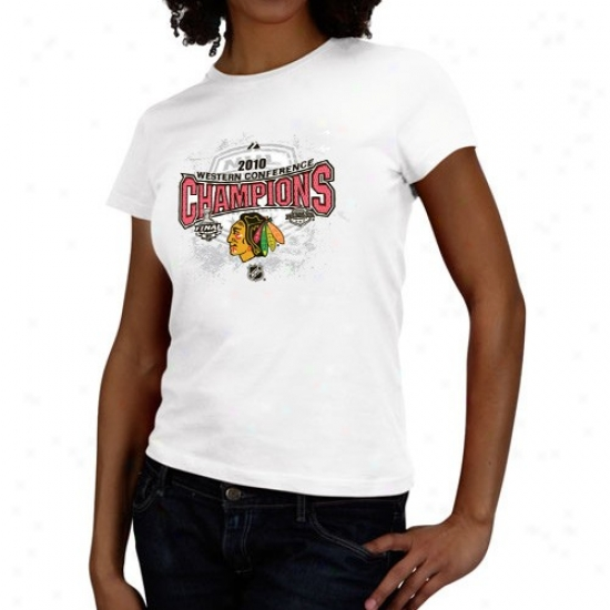 Black Hawks Tee : Majestic Black Hawks 2010 Nhl Western Meeting for consultation Cjampions Ladies Whits Full Glory Official Locker Space Tee