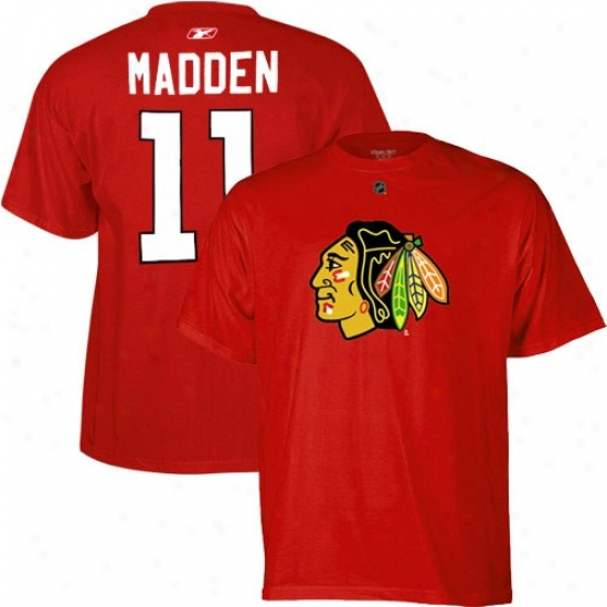 Black Hawks Tee : Reebok Black Hawks #11 John Madden Red Idler Tee
