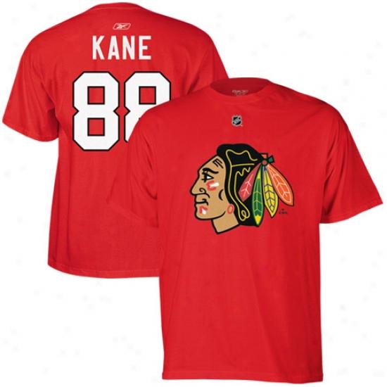 Black Hawks Tee : Reebok Black Hawks #88 Patrick Kane Red Plzyer Tee