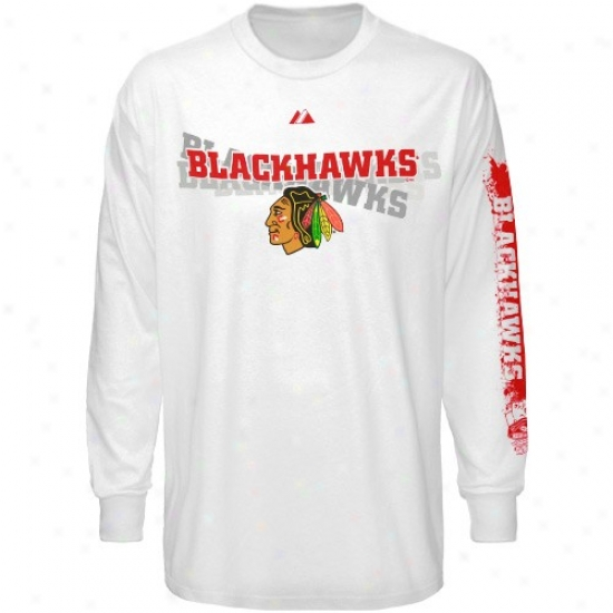 Black Hawks Tshirt : Majestic Black Hawks White The Draft Long Sleeve Tshirt