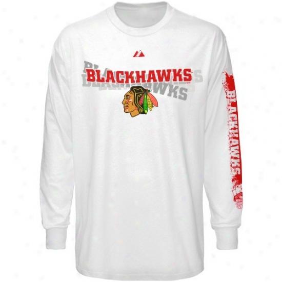Black Hawks Tshirt : Majestic Black Hawks White The Draft Long Sleeve Tshirt
