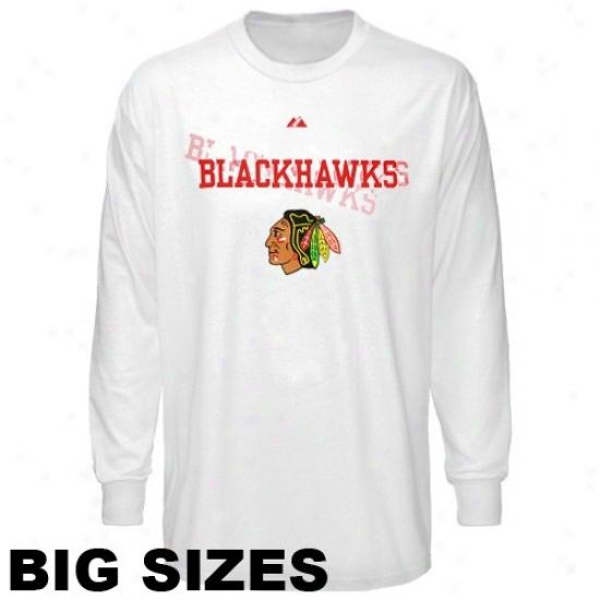 Black Hawks Tshirt : Majestic Black Hawks White Shadow Big Sizes Long Sleeve Tshirt