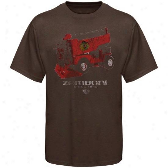 Blackhawks Apparel: Old Time Hockey Blackhawks Brown Zamboni T-shirt