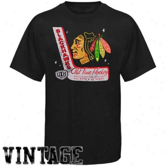 Blackhawks Attire: Old Time Hockey Blackhawks Black Lumber Vintage T-shirt