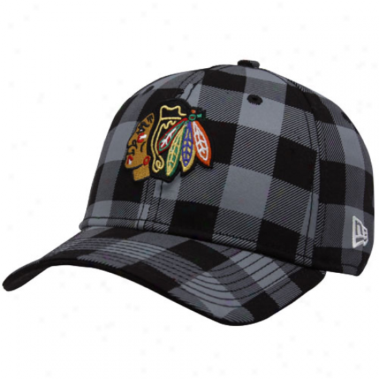 Blackhawks Gaar: New Era Blackhawks Black Plaid B-lo 39thirty Stretch Fit Hat