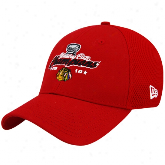Blackhawks Merchandise: New Era Blackhawks Red 2010 Nhl Stanley Cup Championss Neo 2-fit Flex Hat