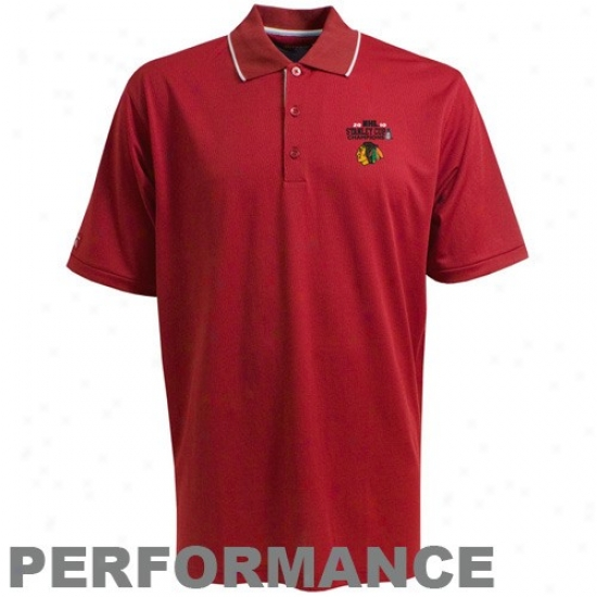 Blackhawks Polos : Antigua Blackhawks Red 2010 Nhl Stanley Cup Champions Impact Performance Polos