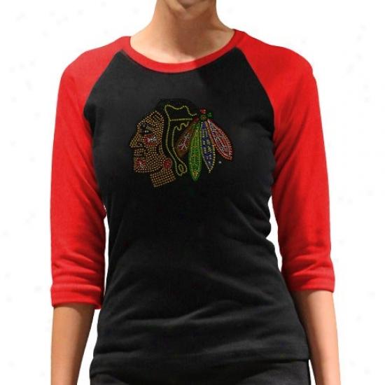 Blackhawks Shirts : Blackhawks Ladies Black-red Rhinestone 3/4 Sleeve Raglan Premium Shirts