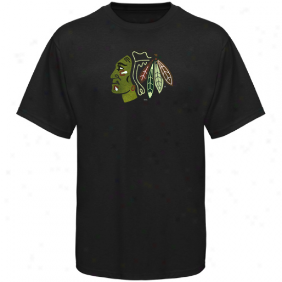 Blackhawks Shirts : Elevated Blackhawks Black Slim Fit Logo Shirts