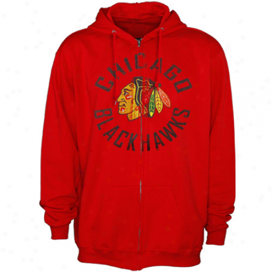 Blackhawks Cloth: Reebok Blackhawks Red All Around Full Zip Hoody Swaetshirt