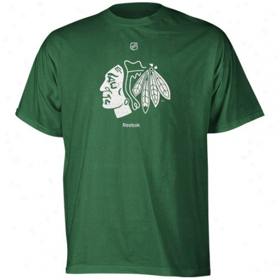 Blackhawks Tee : Reebok Blackhawks Kelly Green Irish Logo Tee