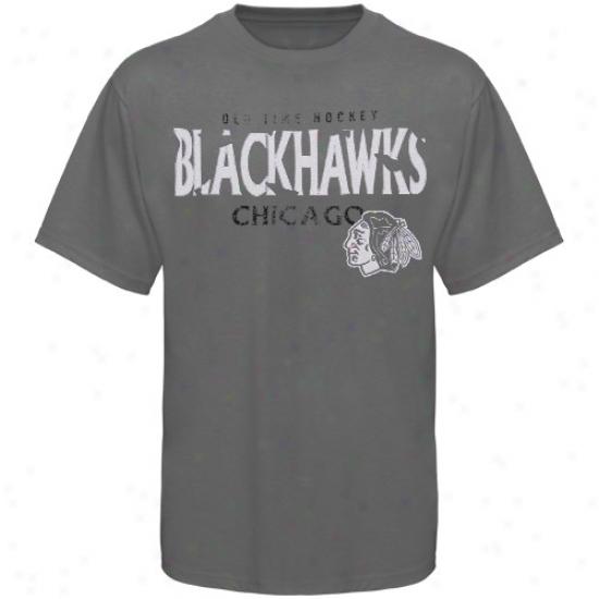 Blackhawks Tees : Old Time Hockey Bladkhawks Charcoal St. Croix Tees