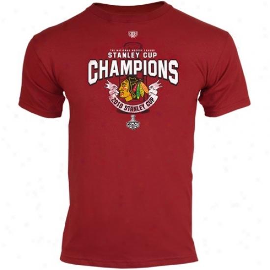 Blackhawks Tshirt : Old Time Hockey Blackhawks Red 2010 Nhl Stanley Cup Champions Fraser Tshirt