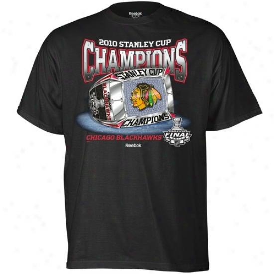 Blackhawks Tshirts : Reebok Blackhawks Black 2010 Nhl Stanley Cup Champions Sterling Silver Ring Tshirts