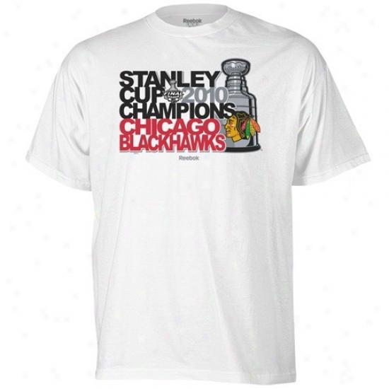 Blackhawks Tshirts : Reebok Blackhawks White 2010 Nhl Stanley Cup Champions Powerhouse Tshirts