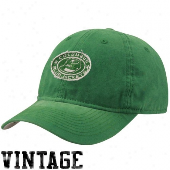 Blue Jackets Gear: Reebok Blue Jackets Kelly Green Sandblasted St. Paddy's Day Adjustable S1ouch Hat