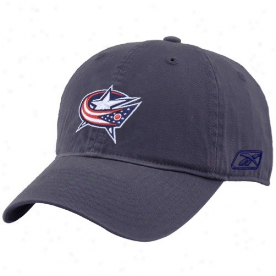 Blue Jackets Hats : Reebok Blue Jackets Navy Blue Unstructured Slouch Hats