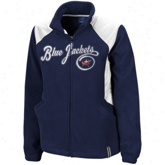 Blue Jackets Jackets : Reebok Blue Jackets Ladies Navy Blue Rhythm Microfleece Full Zip Jackets
