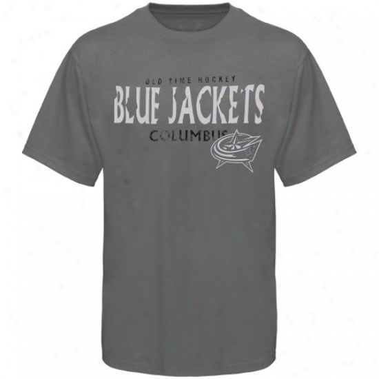 Blue Jackets T Shit : Old Time Hockey Blue Jackets Charcoal St. Croix T Shirt