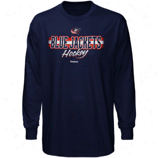 Blue Jackets T Shirt : Reebok Blue Jackets Navy Blue Allegiance Long Sleeve T Shirt