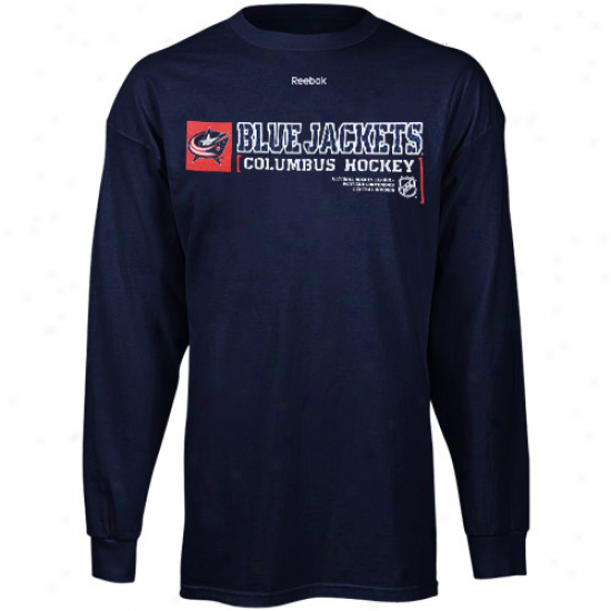 Blue Jackets Tee : Reebok Blue Jackets Navy Dismal Call Sign Long Sleeve Tee