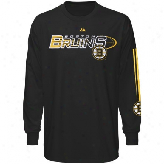 Boston Bruin Apparel: Majestic Boston Bruin Black Extreme Long Sleeve T-shirt
