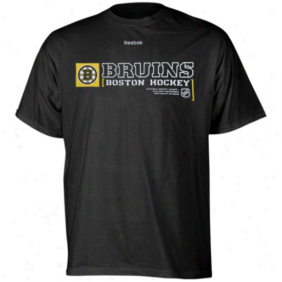 Boston Bruin Apparel: Reebok Boston Bruin Black Call Carol T-shirt