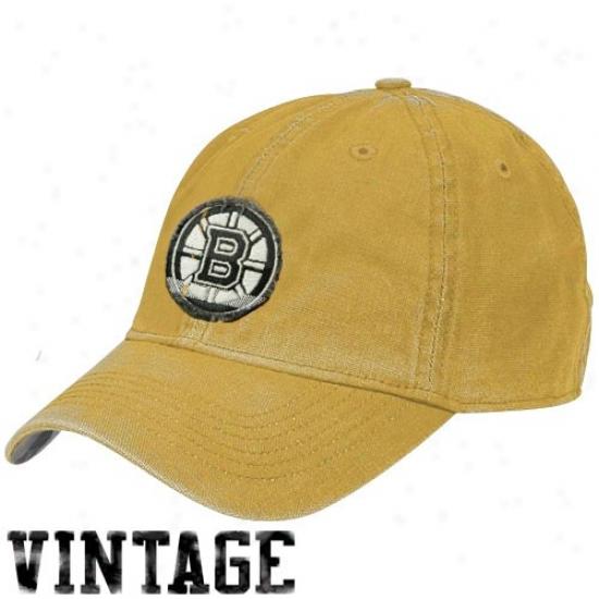 Boston Bruin Gear: Reebok Boston Bruin Gold Distressed Logo Vintage Slouch Hat