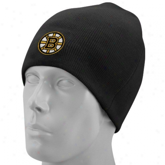 Boston Bruin Hat : Reebok Boston Bruin Black Basic Logo Knit Beanie