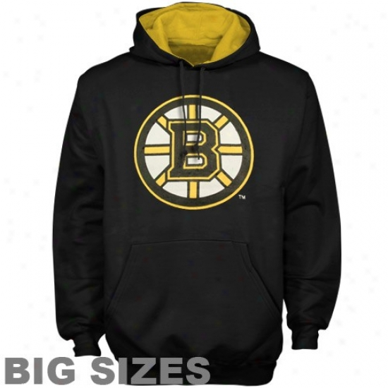 Boston Bruin Hoody : Majestic Boston Bruin Black Team Logo Big Sizes Hoody
