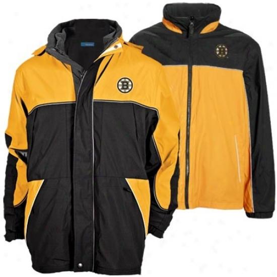 Boston Bruin Jackets : Boston Bruin Black-gold Quadrant Outer Shell Full Zip Heavyweight Reversibl3 Jackets