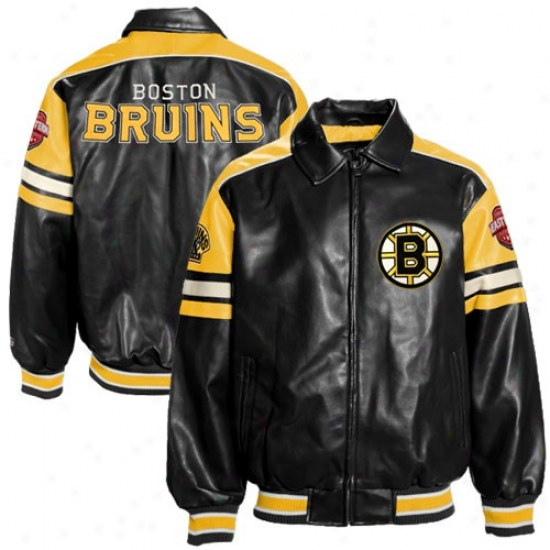 Boston Bruin Jackets : Boston Bruin Black Pleather Varsity Full Zip Jackets
