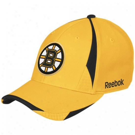 Boston Bruin Merchandize: Reebok Boston Bruin Gold Player 2nd Season Flex Fit Hat