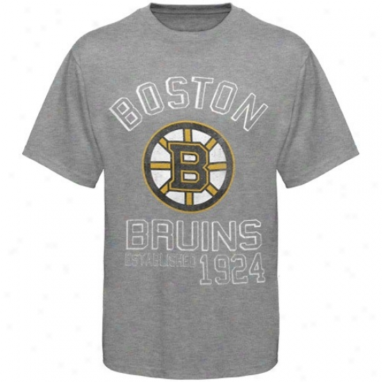 Boston Bruin Shirt : Banner '47 Boston Bruin Ash Baseline Distressed Shirt