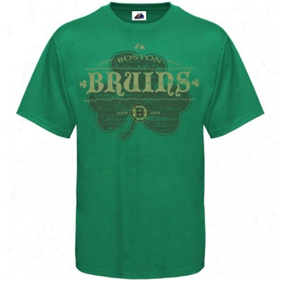 Boston Bruin Shirt : Majestic Boston Bruin  Kelly Green Irish Hockey Shirt