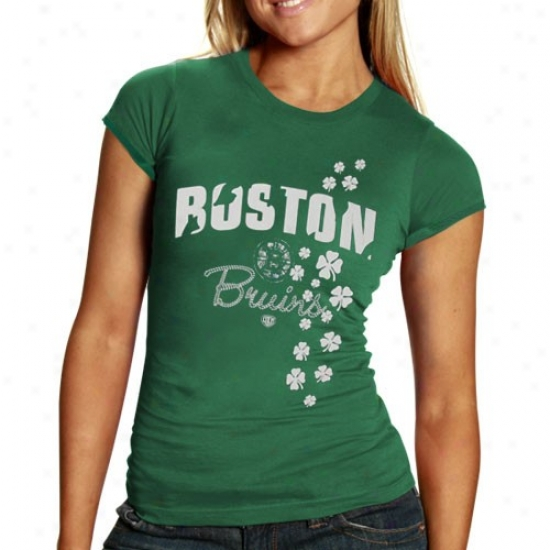 Boston Bruin Shirt : Former Time Hockey Boston Bruin Ladies Kelly Green Tory Sbirt