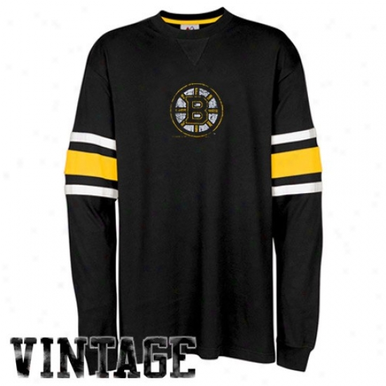 Boston Bruin Shirts : Majestic Boston Bruin Black End Line Long Sleeve Vintage Shirts