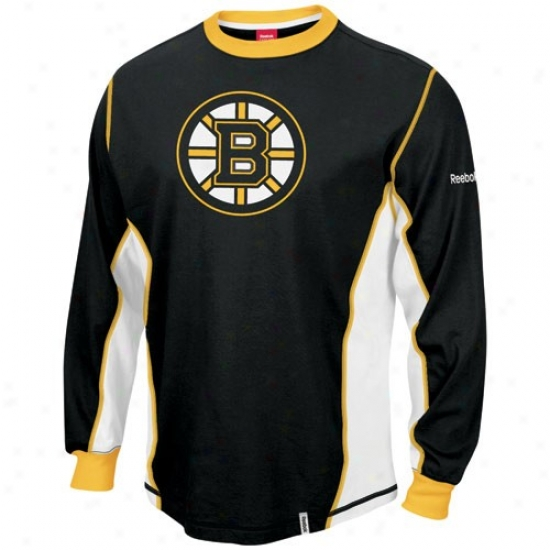 Boston Bruin Shirts : Reebok Boston Bruin Black Downforce Constructed Long Sleeve Premium Shirts