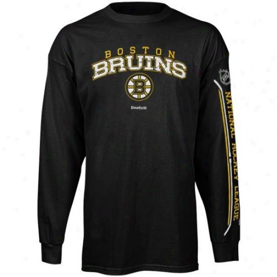 Boston Bruin Shirts : Reebok Boston Bruin Black Double Stick Long Sleeve Shirts