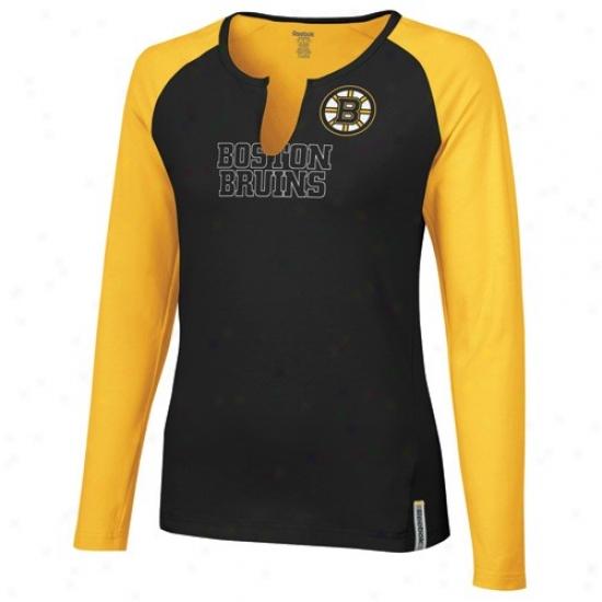 Bosotn Bruin Shirts : Reebok Boston Bruin Ladies Black-gold High Pitch Long Sleeve Premium Shirts