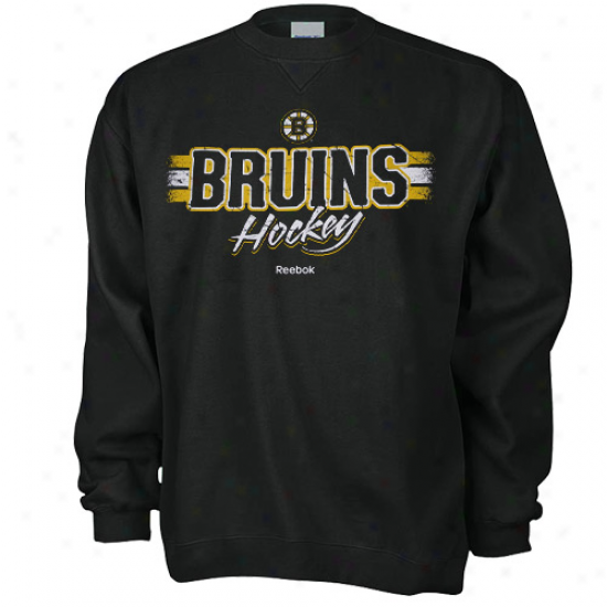Boston Bruin Sweat Shirtz : Reebok Boston Bruin Black Allegiance Perspiration Shirts