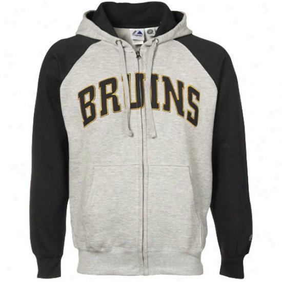 Boston Bruin Sweatshirt : Majestic Boston Bruin Ash-black Slap Shit Full Zip Sweatshirt