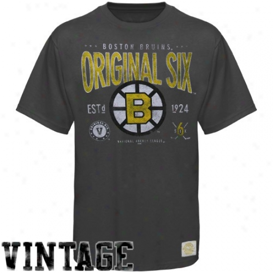 Boston Bruin T-shirt:  Reebok Boston Bruin Charcoal Big Original Six Super Soft Vintage T-shirt