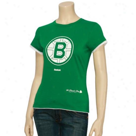 Boston Bruin T-shirt : Reebok Boston Bruin Ladies Kelly Green St. Patrick's Day T-shirt