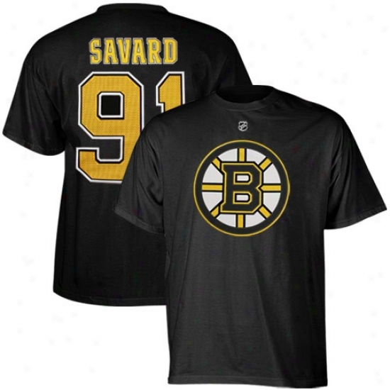 Boston Bruin Tee : Reebok Boston Bruin #91 Marc Savard Black Player Tee