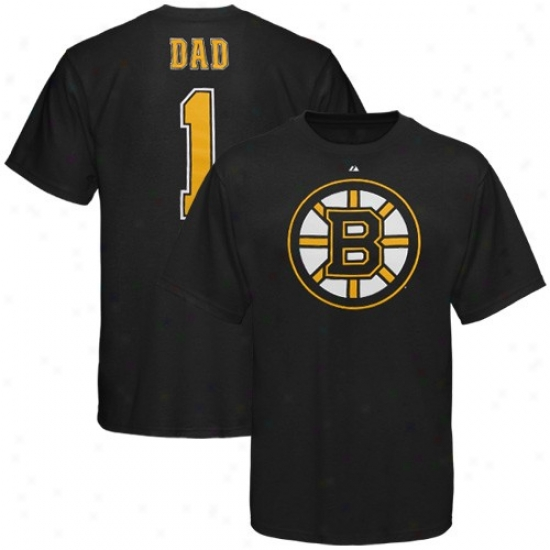 Boston Bruin Tees : Majestic Boston Bruin Father's Day Black Tees