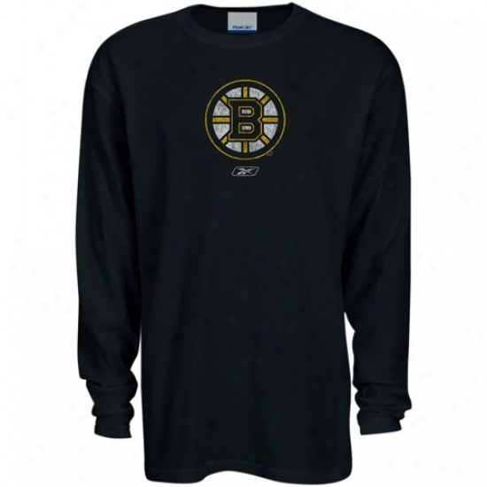 Boston Bruin Tees : Reebok Boston rBuin Black Faded Logo Long Sleeve Thermal Tees
